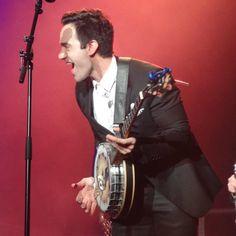 Ramin Karimloo and his banjo Kayla during a recent West End Men concert.