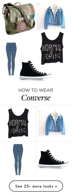 """"" by karinacabrera on Polyvore featuring Marvel, Levi's, Topshop and Converse"