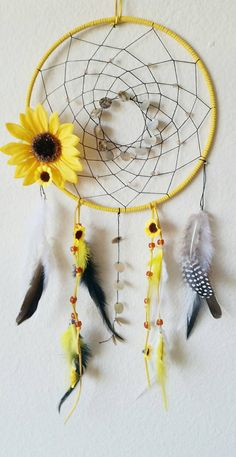 Sunflower Dreamcatcher with Faux Suede, Shells, crystals, feathers and flowers