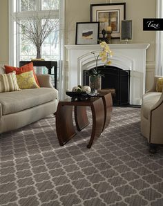 The choice of patterned carpet in this family room is a great choice. It helps not only to add style, but it also helps to add some different colors throughout the space. Flooring, Carpet Stairs, Patterned Carpet, Carpet Flooring, Decor, Carpet Design, Living Room Carpet, Home, Living Room Designs