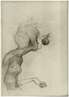 Drawings by Joao Paulo Alvares Ruas The Funny Web Illustrations, Illustration Art, Drawing Sketches, Art Drawings, Image Swag, Kunstjournal Inspiration, Portrait Inspiration, Arte Peculiar, Kunst Tattoos