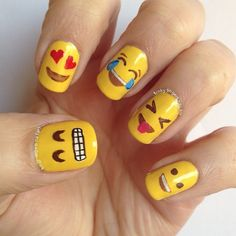 I love all the newsprint & letter nail art I've seen -- shouldn't surprise me that there's cute emoji nail art, too! | Emoji nails nail art by Funky fingers nail art