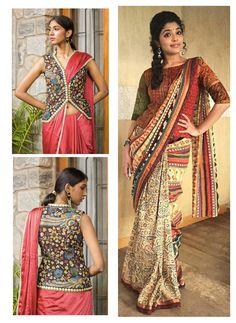 Beautiful Kalamkari blouse designs can add style statement to even a simple saree. Kalamkari Blouse Designs, Simple Sarees, Latest Trends, Sari, Pattern, Beautiful, Style, Fashion, Saree