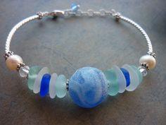 Sea Glass Bracelet  Rare Marble Blue Beach by TheMysticMermaid, $68.00