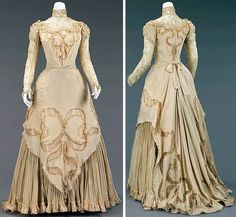 Evening dress, Herbert Luey  (American, 1860–1916), ca. 1890. Silk and linen. Luey was a significant dressmaker working in Brooklyn when downtown Brooklyn was a popular shopping destination. The complexity of the construction attests to his competence as a dressmaker. This exemplary beige silk-crepe evening dress has net insertions and machine-made lace. Metropolitan Museum of Art