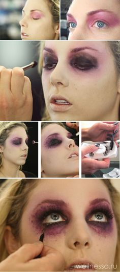 ▷ 1001 + Halloween make-up tips for your healthy skin.- carnival-make-up-manual-in-images-as-you-Self-make-up-halloween-make-up-for-women - Ghost Makeup, Sfx Makeup, Makeup Hacks, Makeup Tips, Makeup Ideas, Prom Makeup, Wedding Makeup, Horror Makeup, Makeup Brushes