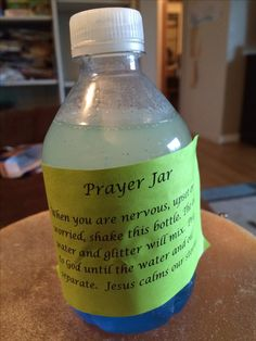 VBS craft- a Prayer Jar. Use a small, 8 oz, water bottle. Drink or dump about 1/2 out. Add blue food coloring to remaining water. Then add vegetable oil and glitter. Hot glue the top back onto the bottle. Have the children shake and explain how it resembles a storm. Glue on the Prayer Jar note: when you are nervous, upset or worried, shake this bottle. The oil, water and glitter will mix. Pray to God until the liquids separate back out. Jesus calms our storms.