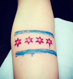 """""""watercolor tattoo of the chicago flag"""""""