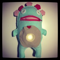 pappabuio - darknesseater #mostri113. #handmade toy. Put the light in his belly and sleep well