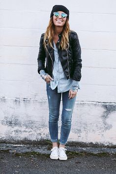rolled jeans + chambray button-up + leather jacket + toque + converse