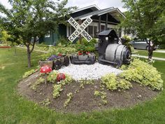Wine Barrell Train Planter with rail road crossing sign