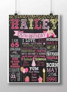 Adult birthday sign chalkboard style adult by CustomPrintablesNY