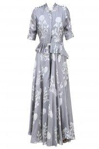 Grey Pleated Tiered Kurta and Pants Set #myoho #ethnic #shopnow #ppus #Happyshopping