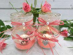 Hochzeitsdeko - Windlicht upcycling Tischdeko Teelichthalter Deko - ein Designerstück von shabbydoo bei DaWanda
