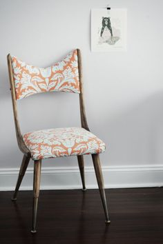 The color of my walls. Refurbished / reupholstered vintage chair.