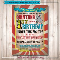 Printable Vintage Circus Birthday Invitation by SendMeStationery