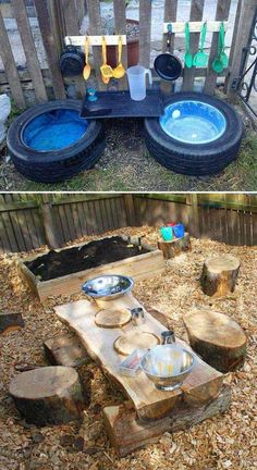 Outdoor Fun: 25 Fun Outdoor Playground Ideas For Kids. natural playground ideas 25 Fun Outdoor Playground Ideas For Kids Kids Outdoor Play, Outdoor Play Spaces, Kids Play Area, Backyard For Kids, Backyard Kitchen, Natural Play Spaces, Backyard Patio, Childrens Play Area Garden, Outdoor Toddler Activities