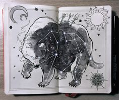 "Ursa Major, ""the great bear"" constellation. - ⭐️""Ursa Major is one of the oldest constellations in the sky, her roar sounds like desert thunder and she has the wisdom of thousands of years gone by. Ursa Major, Constellations In The Sky, Gabriel Picolo, Illustration Art, Illustrations, Poster Design, Constellation Tattoos, Art Sketchbook, Ink Art"