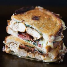 This chicken bacon spinach grilled cheese is packed full of flavor and perfect for dinner or lunch. Super cheesy and grilled to ooey gooey perfection.