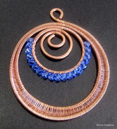 copper and swarovski wire wrapped pendant by sunshinept on JewelryLessons.com