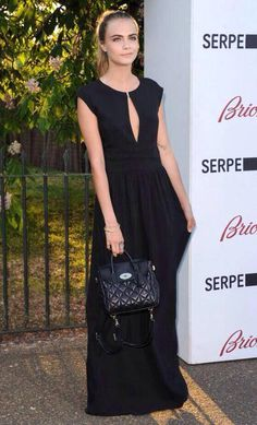 5b3babb5ab Cara Delevingne in LBD with her design MULBERRY quilted black backpack. Mulberry  Cara Delevingne