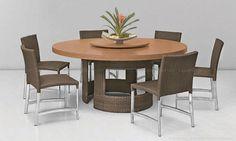 Conjunto para Sala de Jantar com Base para Mesa, Tampo para Mesa com Centro Giratório e 6 Cadeiras Ipê/Teca - Urbe Móveis