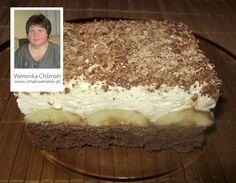 Bananowa rozpusta–przepis pochodzi z bloga prowadzonego przez Weronikę Chilmon. ciasto; 4 duże jajka 4 łyżki cukru 4 łyżki mąki pszennej 1 łyżka mąki ziemniaczanej 1 łyżka kakao 1 łyżeczka prosz...