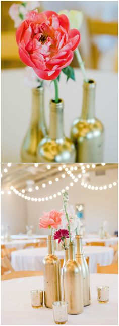 DIY wedding reception floral centerpieces, gold painted wine bottles, pink flowers, learn more on borrowedandblue.com // Kaytlin Lane Photography