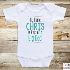 """Personalized Baby Clothes, """"My Uncle Is"""" Short or Long Sleeve Baby Onesies for Boys or Girls- Baby Shower Gifts, Baby Clothes  D36"""