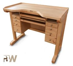 Premium Benchwork by Benchworks, Belgium. Pine frame finished with beech tinted varnish dust collecting drawer; drawer for tools under the worktop; retractable writing board,ideal for drawing or posing pictures on; 8 drawers of different depths benchtop entirely out of solid beech wood, finished with oil; includes 2 filing pins. Can't be dismantled. Price Incl VAT: € 695.