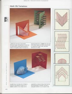 Simple effective designs that any amateur pop up maker can do. its plain but abstract and shows depth and angles giving the 2D book into a 3D format
