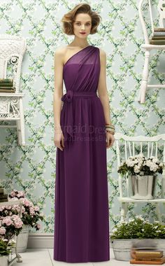 A-line Sleeveless One Shoulder Grape Chiffon Floor-length Purple Bridesmaid Dresses- BridesmaidDressesBuy.co.uk