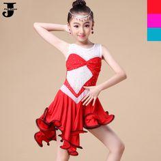 US $30.69 / piece  Latin Dance Dress For Girls Dress&&Bottom Pants&Diamond Children Vestido De Baile Latino Red/Rose/Lake Blue Kids Dance Costumes