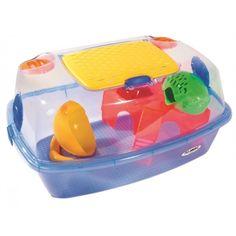 Hamsterkooi met speeltjes. Makkelijk te openen en schoon te maken. Met doorzichtige bovenkant en een gele onderbak.