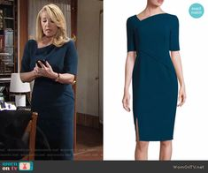 Nikki's teal asymmetric neck sheath dress on The Young and the Restless.  Outfit Details: https://wornontv.net/67123/ #TheYoungandtheRestless