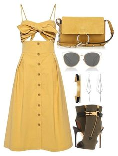 Yellow, Black & Green by carolineas on Polyvore featuring polyvore, fashion, style, Sea, New York, Giuseppe Zanotti, Chloé, Diane Kordas, Christian Dior and clothing
