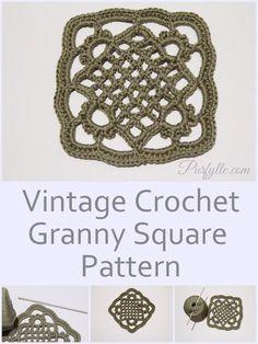 Vintage crochet granny square pattern                                                                                                                                                      More