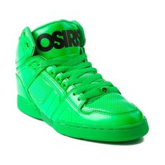 Shop for Mens Osiris NYC 83 Skate Shoe in Green Black at Journeys Shoes. Shop today for the hottest brands in mens shoes and womens shoes at Journeys.com.High-top skate shoe from Osiris featuring a bright neon leather upper with patent accents, breathable airholes, and a padded tongue and collar for comfort. Available only online at Journeys.com! Available for shipment in March; pre-order yours today!