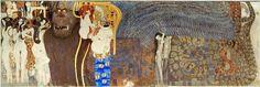 """""""Beethoven Frieze""""  Artista: Gustav Klimt Dimensões: 2,15 m x 34 m Criação: 1902 Localização: Österreichische Galerie Belvedere Gênero: Alegoria Períodos: Secessão de Viena, Art nouveau"""