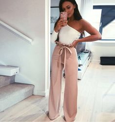 Order the Sarah Ashcroft Tall Nude Flared High Waisted Paperbag Trousers from In The Style. Shop today with next day delivery available until Trouser Outfits, Pants Outfit, Jeans Dress, Dress Boots, Nude Trousers, Look Girl, Going Out Outfits, Ladies Dress Design, Spring Outfits