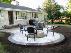 Looking for concrete patio ideas backyard? A garden patio enables a beautiful and welcoming space all over the summer season – or even into winter season… Concrete Patios, Poured Concrete Patio, Concrete Backyard, Concrete Patio Designs, Cement Patio, Small Backyard Patio, Backyard Patio Designs, Backyard Landscaping, Backyard Ideas