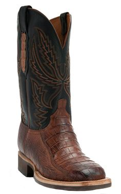 Lucchese®1883™ Men's Cognac Burnished Crocodile Tail Square Toe Crepe Exotic Cowboy Boot