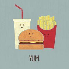 Fast Food Art Print, YUM. By Teo Zirinis