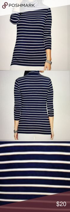 """Lauren Turtleneck NWT. Ralp Lauren, Lauren Striped Jersey Turtleneck.  Size XL.  Ralph Lauren is known for his classic styles and this Turtleneck is a perfect reminder of that!  It has 3/4 Length sleeves and is 96% Viscose and 4% Elastane which makes for an amazingly soft top! The Navy and White Stripes make it perfect with white or blue jeans! The top measures 26"""" in length and 20"""" across! Ralph Lauren Tops"""