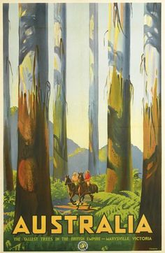 Retro Graphic Design PERCY TROMPF (1902-1964) AUSTRALIA / THE TALLEST TREES IN THE BRITISH EMPIRE. Circa 1935.