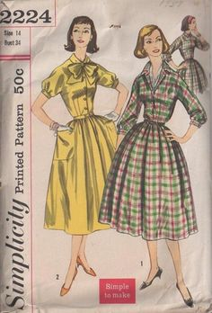 MOMSPatterns Vintage Sewing Patterns - Simplicity 2224 Vintage 50's Sewing Pattern BEAUTIFUL Retro Mad Men Housewife Fancy Full Gathered Skirt Shirtwaist Day Dress, Puff Kimono Sleeves, Tie Collar, Pockets Size 12