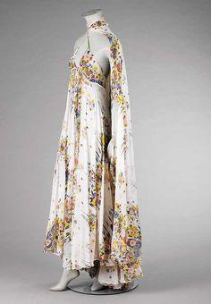 Ossie Clark with Celia Birtwell print chiffon dress and cape