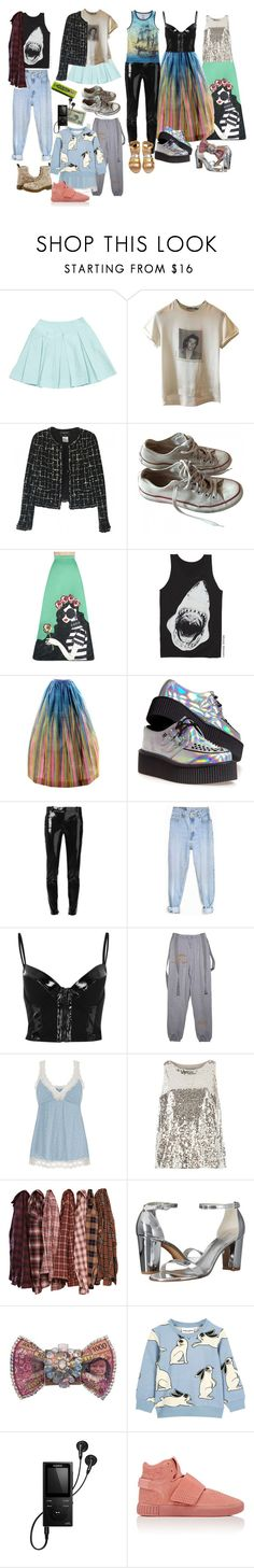 """""""Wrigley's"""" by amanda-anda-panda ❤ liked on Polyvore featuring Prada, Dolce&Gabbana, Chanel, Converse, Alice + Olivia, INDIE HAIR, Dr. Martens, T.U.K., Versace and Levi's"""