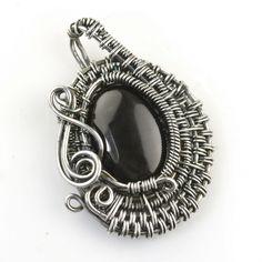 Onyx & Silver Wire Wrap Pendant, by FabelSieraad