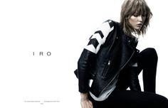 IRO FW 2013 Campaign Model Karlie Kloss Photographers Shot by Claudia Knoepfel and Stefan Indlekofer Textured Piecey Bob Short Hair Bangs Two Tone Black And White Shoulder Arrows Ribbed Moto Leather Jacket Linen Top Skinny Black Jeans Pants Ad Fashion, Editorial Fashion, Fashion Models, Womens Fashion, Fashion Trends, Female Fashion, Grunge Fashion, Fashion Shoot, Fashion Design